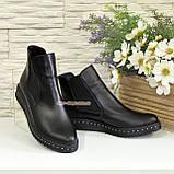 Женские черные кожаные демисезонные полуботинки, на утолщенной подошве, фото 3