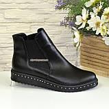Женские черные кожаные демисезонные полуботинки, на утолщенной подошве, фото 4