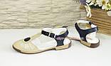 Женские кожаные босоножки с закрытым носком на низком ходу , фото 3