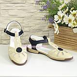 Женские кожаные босоножки с закрытым носком на низком ходу , фото 4