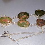Унакит намисто натуральний унакит в сріблі., фото 2
