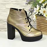 Ботинки демисезонные женские на высоком каблуке, цвет бронза, фото 2