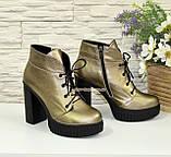 Ботинки демисезонные женские на высоком каблуке, цвет бронза, фото 3
