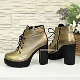 Ботинки демисезонные женские на высоком каблуке, цвет бронза, фото 4