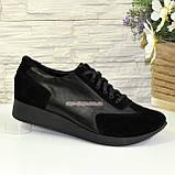 Туфли -кроссовки на утолщенной подошве, из натуральной замши и кожи черного цвета, фото 3