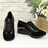Туфли -кроссовки на утолщенной подошве, из натуральной замши и кожи черного цвета, фото 4