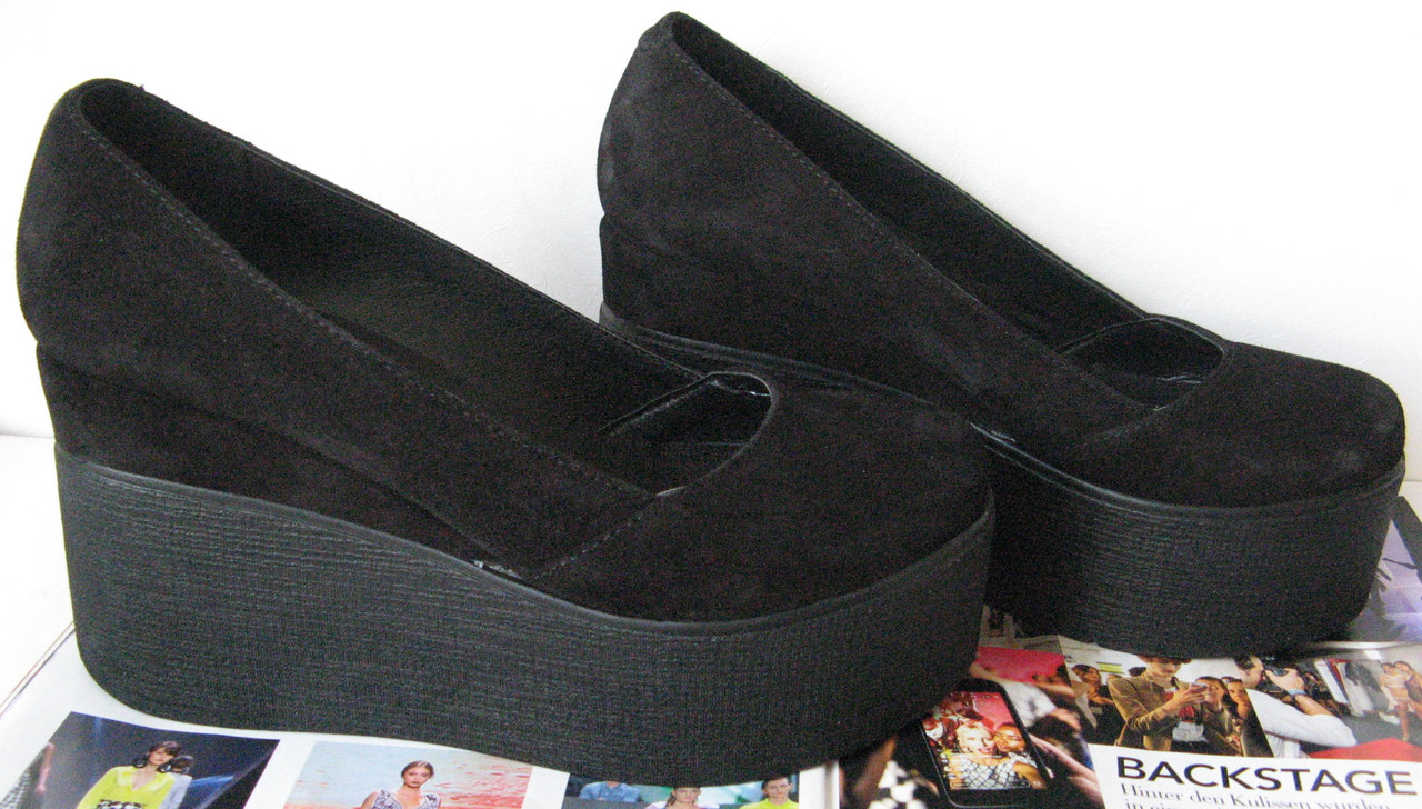 c01427b38 Стильные туфли женские платформа на танкетке натуральная замша цвет черный,  ...