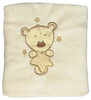 Детский махровый плед покрывало для новорожденных  18037 Мишка на звездочке, 97 см х 87 см