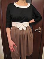 Молодежное трикотажное платье производства Турции , черное с кофейным, 46р