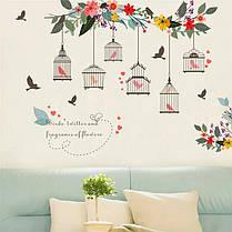 """Наклейка на стену, виниловые наклейки, """"зеленое дерево с птицами и клетка """" 66см*70см (лист30*90см), фото 2"""