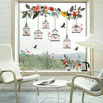"""Наклейка на стену, виниловые наклейки, """"зеленое дерево с птицами и клетка """" 66см*70см (лист30*90см), фото 3"""