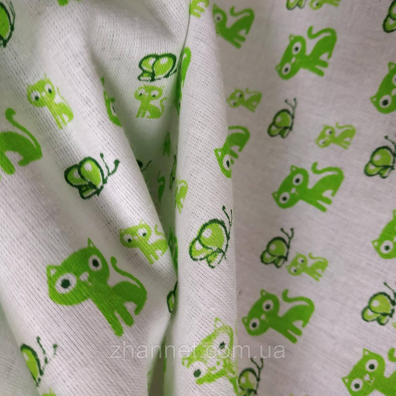 Ситець дитячий Кошенята зелений 95 см (811941)