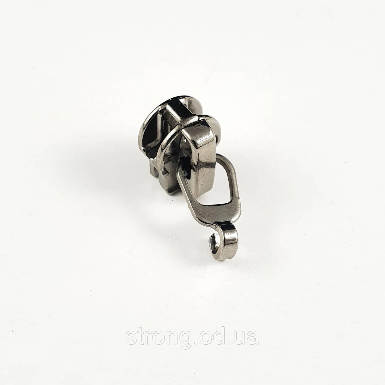 Бегунок Тип 5 для спиральной молнии без пуллера,темный никель 100шт.