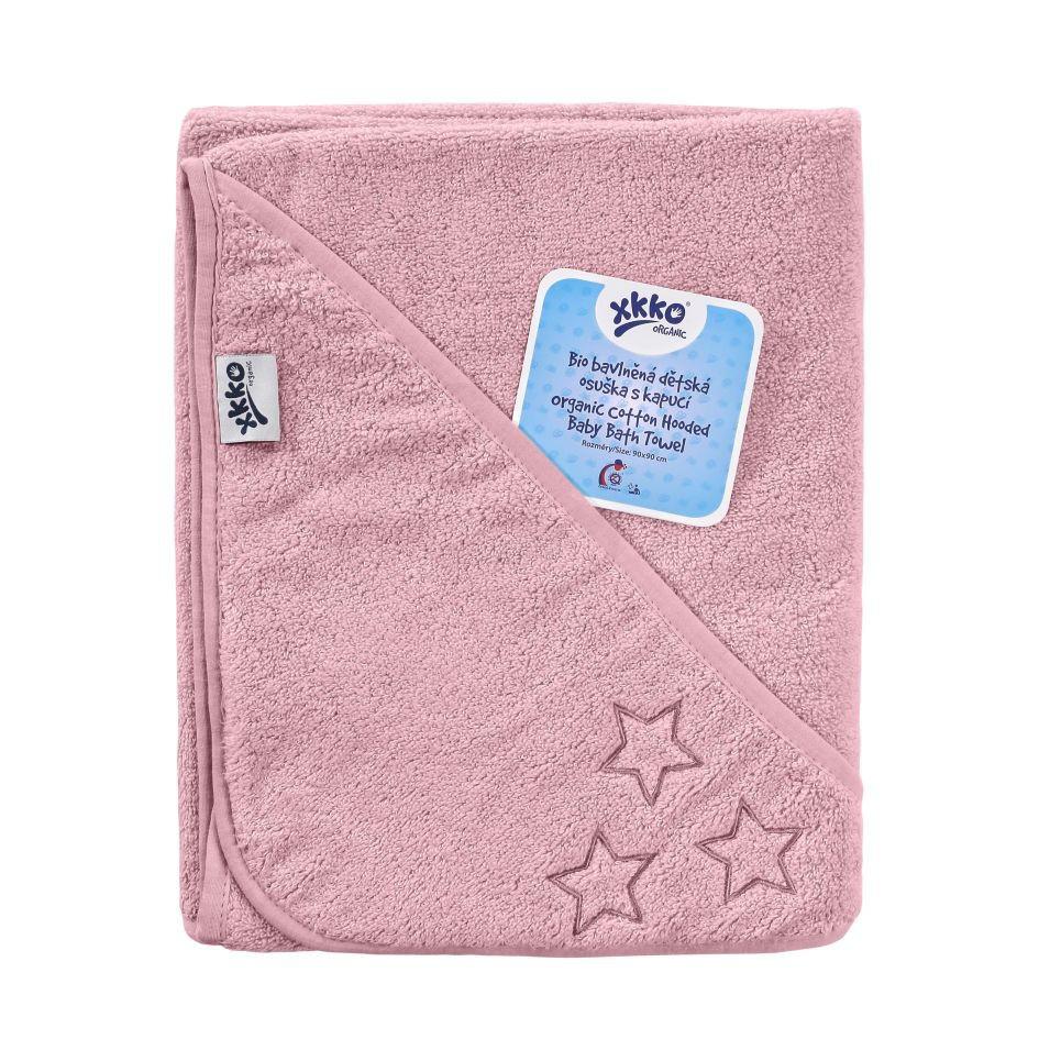 Полотенце розовое из органического хлопка ХККО с капюшоном 90x90