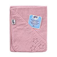 Полотенце розовое из органического хлопка ХККО с капюшоном 90x90, фото 1