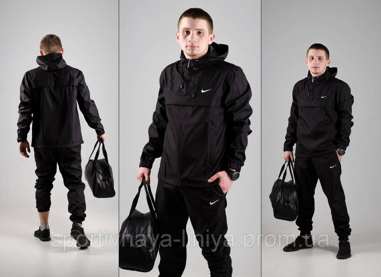 Мужской костюм анорак со штанами Nike реплика черный + подарок
