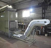 Конвейер (транспортер) отводящий с пластиковой модульной лентой и бункером