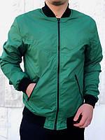 Бомбер весенний мужской, цвет зеленый, фото 1