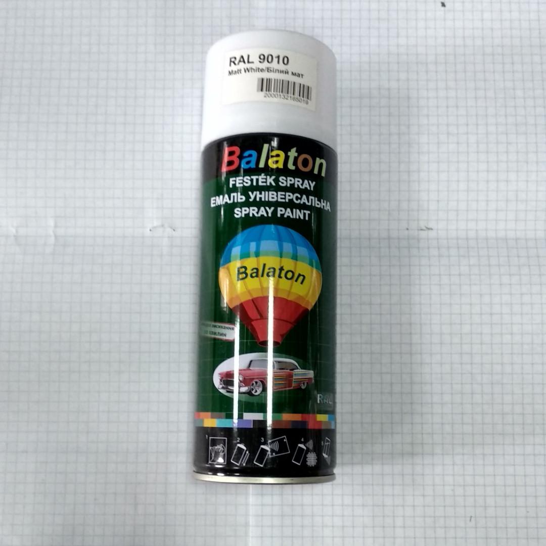 Эмаль краска универсальная алкидная белая матовая 9010 аэрозоль 400мл Balaton