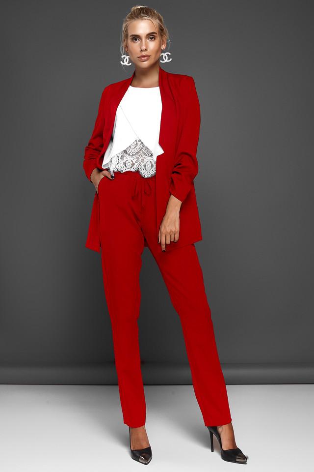 b3e87ae560f Модный Брючный Костюм с Удлиненным Жакетом Красный S-XL - купить по ...