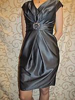 Летнее женское платье серого цвета с декоративным поясом, 46р., фото 1