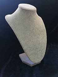 Шея под бижутерию серый  бархат 25 см