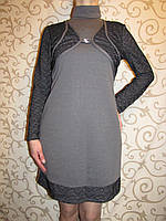 Трикотажное женское платье с имитацией болеро, 48р., фото 1