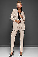 Модный Брючный Костюм с Удлиненным Жакетом  Бежевый S-XL, фото 1