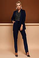 Модный Брючный Костюм с Удлиненным Жакетом Темно-Синий S-XL, фото 1