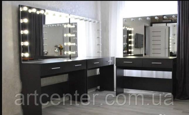Черный визажный стол, гримерный столик