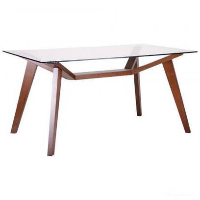 Стол обеденный Мертон орех светлый/стекло прозрачное