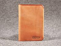 Мягкая кожаная обложка на паспорт Memory Имеет 4 отделения для дисконтных визитных кредитных карт Код: КГ5900