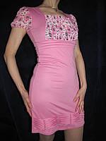 Платье молодежное трикотажное, розовое, 44р., фото 1