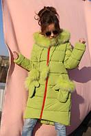 Детское зимнее пальто Мелитта 2  цвет фисташка