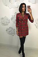 Платье - пиджак красная клетка