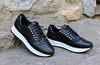 Стильные черные кроссовки с жемчугом. Натуральная кожа 1980