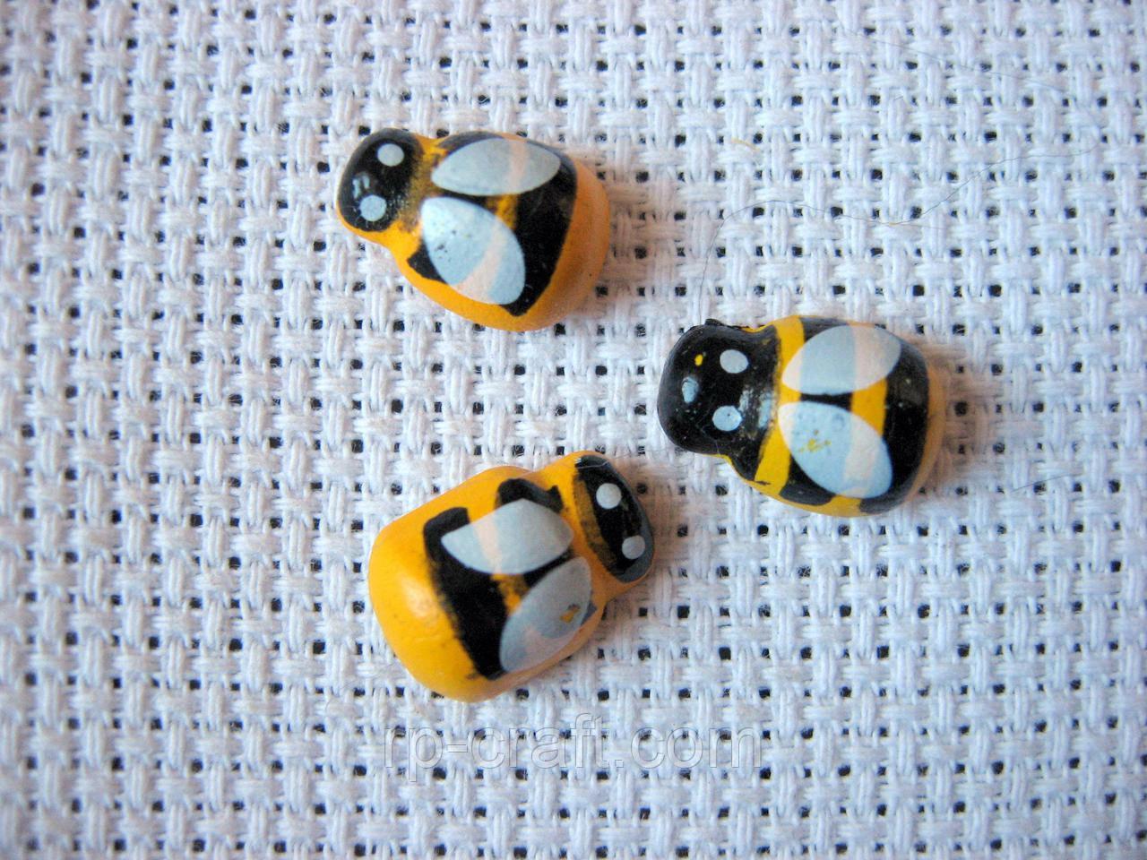 Декор для бантів і скрапу. Бджола на липучці, 9х12 мм
