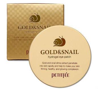 Гидрогелевые патчи с микрочастицами золота и экстрактом улитки PETITFEE Gold & Snail Hydrogel Eye Patch