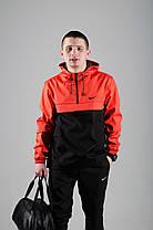 Мужской костюм анорак со штанами Nike реплика оранжевый + подарок , фото 3