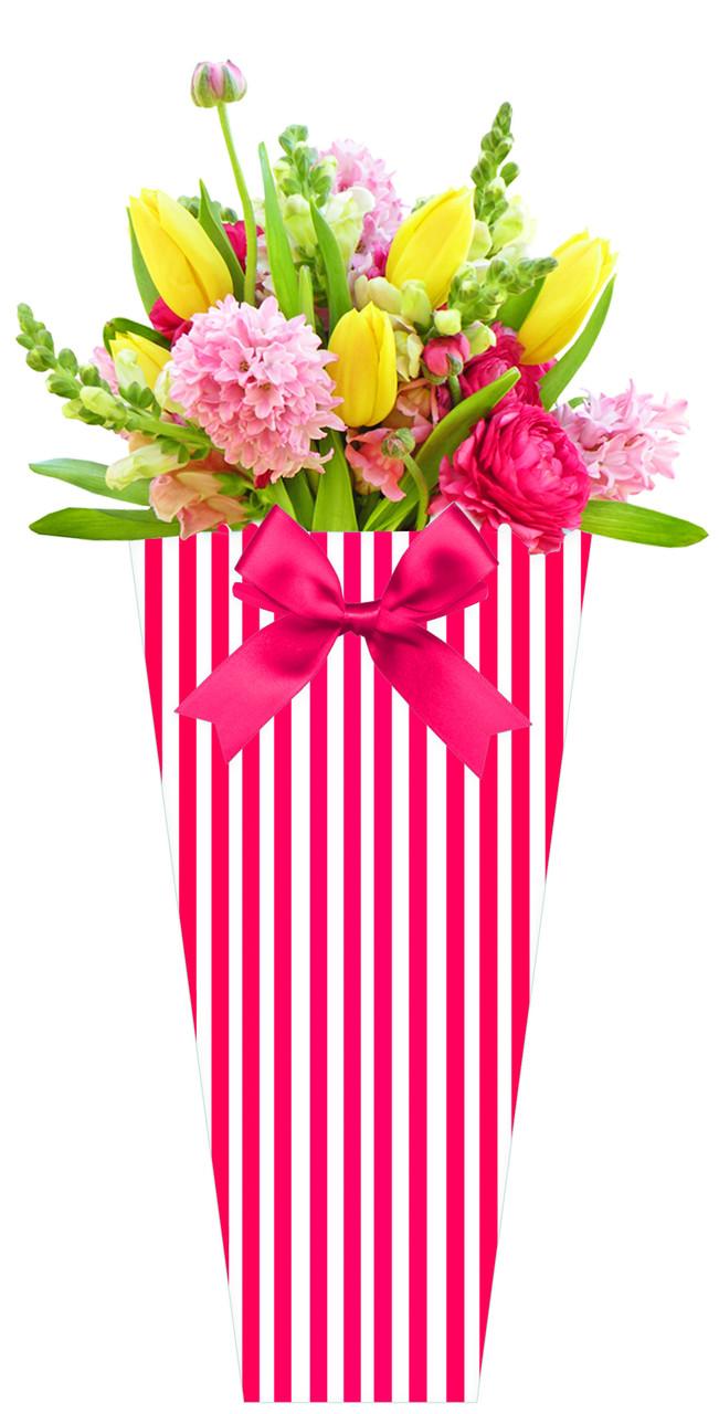 Паперова сумка для букетів і горшкових квітів в смужку