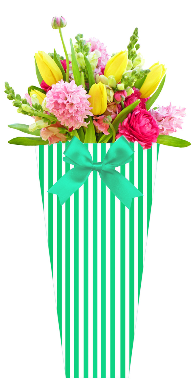 Бумажная сумка для букетов и горшечных цветов в полоску