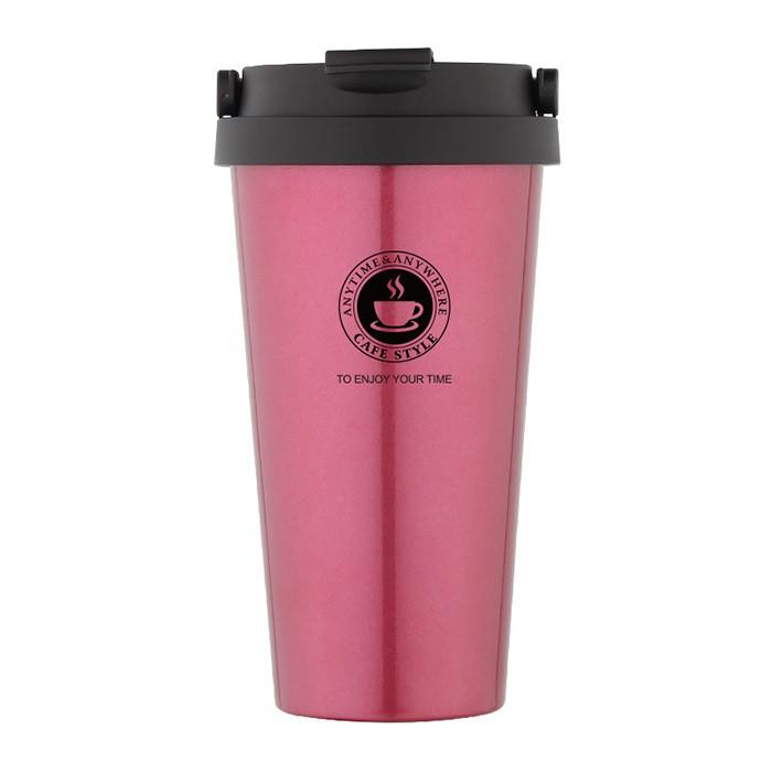 Термокружка SUNROZ Creative Cafe Style с ручкой 500 мл Розовый (SUN1901)
