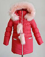 Детское зимнее пальто для девочек кораллового цвета, фото 1