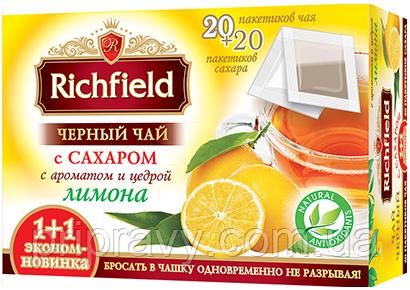 Чай черный с сахаром с ароматом и цедрой лимона ТМ Richfield, 20 пак.