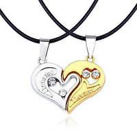 Парные кулоны половинки сердца для влюбленных. Серебро + золото в подарочном футляре