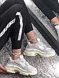 Женские кроссовки Balenciaga Triple S White Gray. Живое фото (Реплика ААА+), фото 8