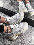 Женские кроссовки Balenciaga Triple S White Gray. Живое фото (Реплика ААА+), фото 7