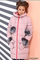 Детское зимнее пальто Мелитта цвет пудра