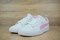 Кеды  женские  Puma X BTS COURT STAR 20130613 белые с розовым Реплика