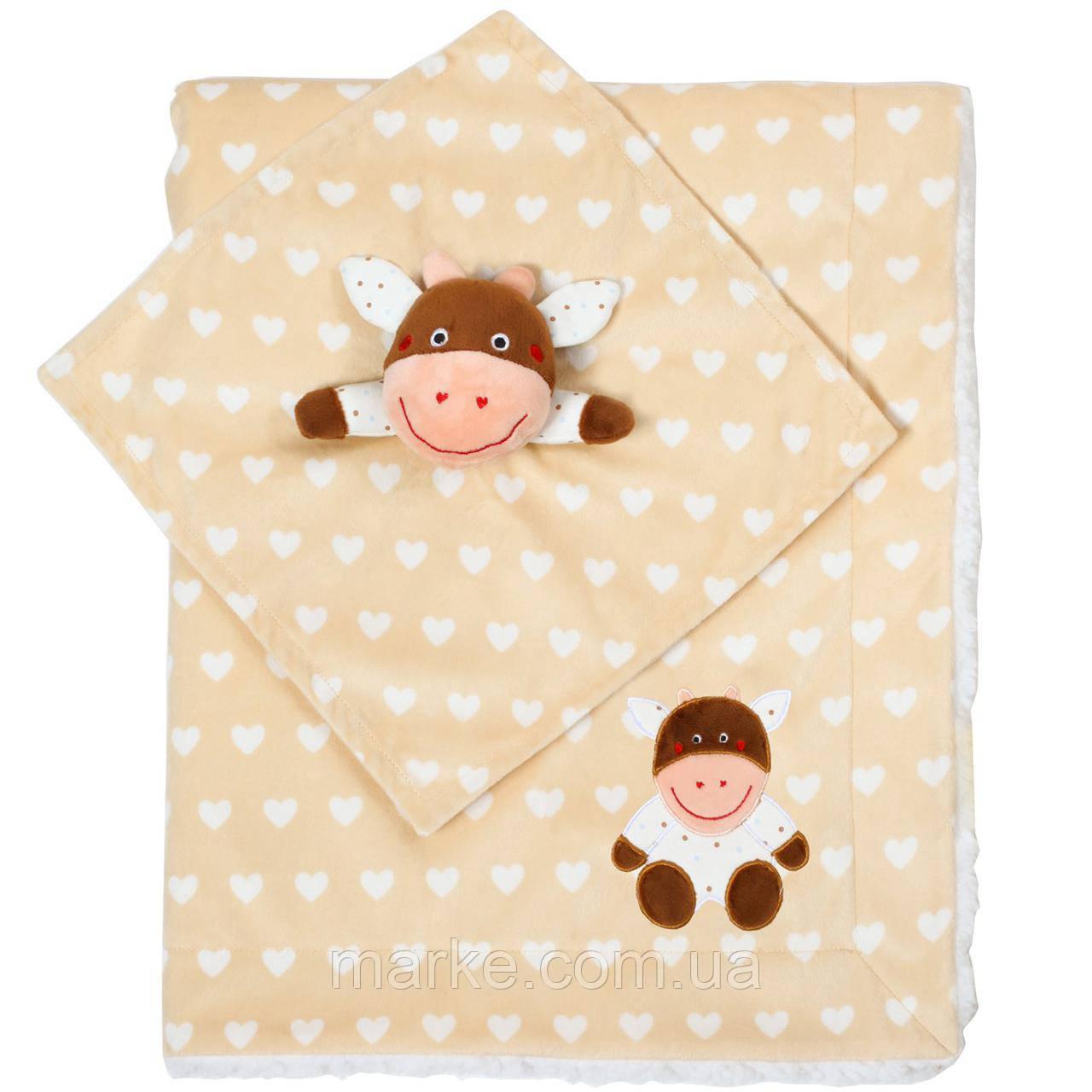 Двухстороннее одеяло BabyOno 75х100 см Minky Коровка (1412/04)